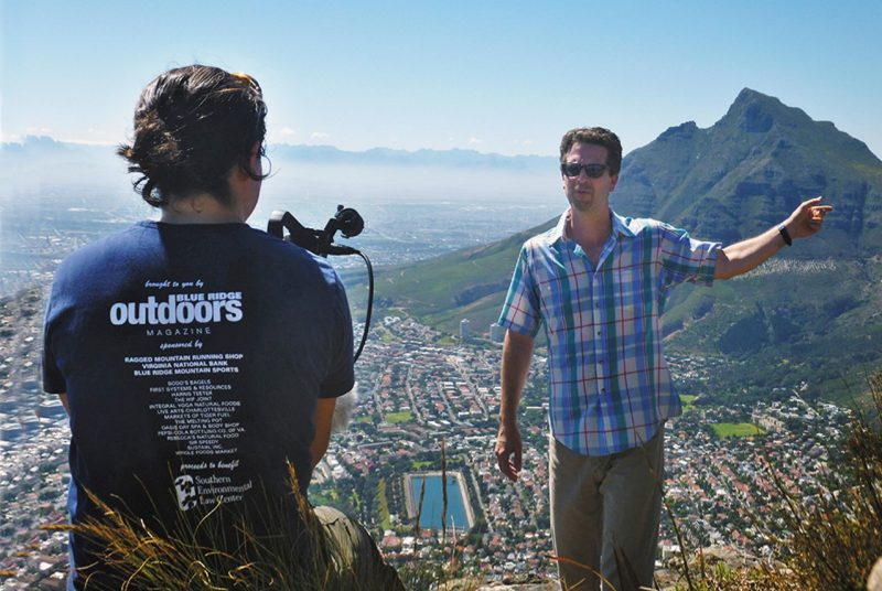 Boyer records mini lecture on Lion's Head Mountain in South Africa.