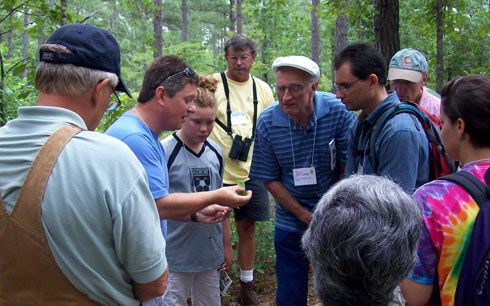 Landowners learn to identify common Virginia tree species during an Online Woodland Options course field trip in the Appomattox-Buckingham State Forest.