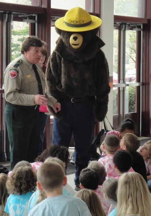 Christiansburg Primary School visit with Smokey Bear