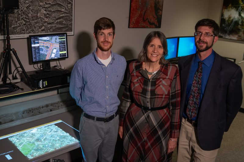 (From left to right) Joe Newman, Kitty Hancock, and Peter Sforza lead work in the Center for Geospatial Information Technology at Virginia Tech to analyze the locations of vehicle crashes throughout Virginia.